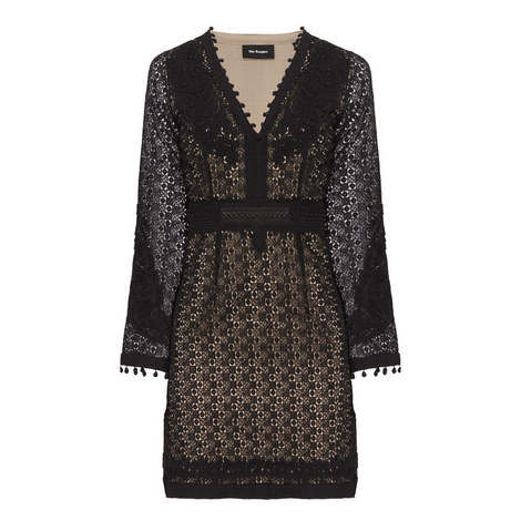 Bell Sleeve Embroidered Dress, ${color}