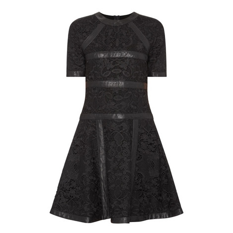 Leather Trim Lace Flared Dress, ${color}