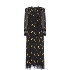 Long Feather Print Dress