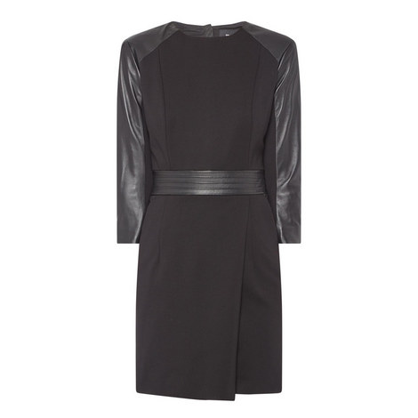 Leather Panel Dress, ${color}
