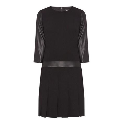 Leather Panel Box Pleat Dress, ${color}