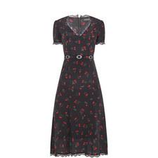 Ruffle Cherry Print Dress