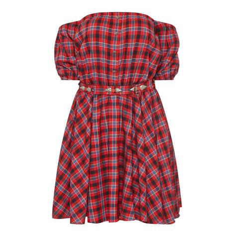 Open Shoulder Check Dress, ${color}