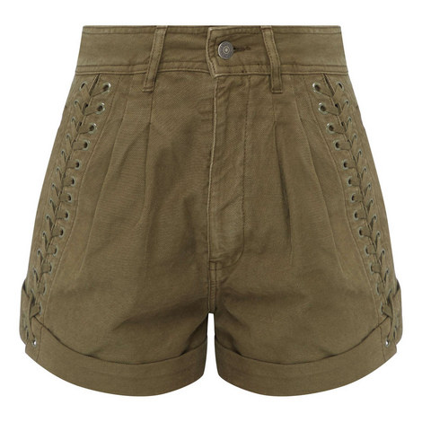 Lace-Up Military Shorts, ${color}