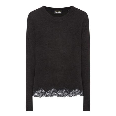 Lace Hem Sweatshirt, ${color}