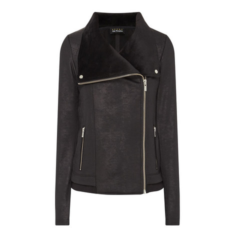 Leather-Effect Biker Jacket, ${color}