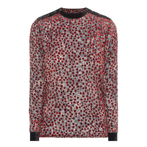 Cherry Flowers Polka Dot Blouse, ${color}