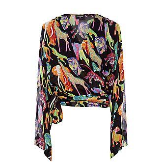 Animal Print Kimono Top