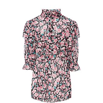 Raised Collar Floral Blouse