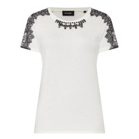 Crystal Lace Detail T-Shirt, ${color}