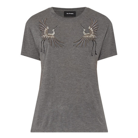 Stork Embroidered Mélange T-Shirt, ${color}