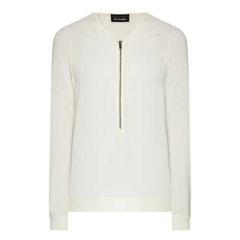 Bi-Material Zipped T-Shirt, ${color}