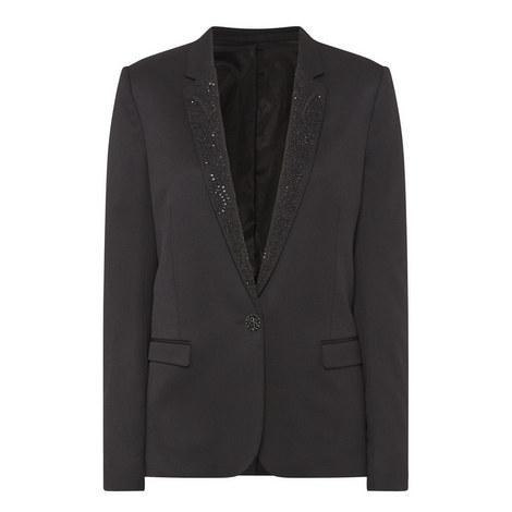 Embroidered Lapel Tux Jacket , ${color}