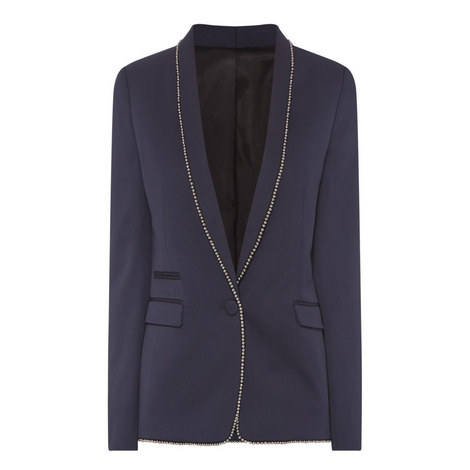 Beaded Trim Suit Jacket , ${color}