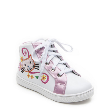 Girls Dotty Hightop Trainer, ${color}