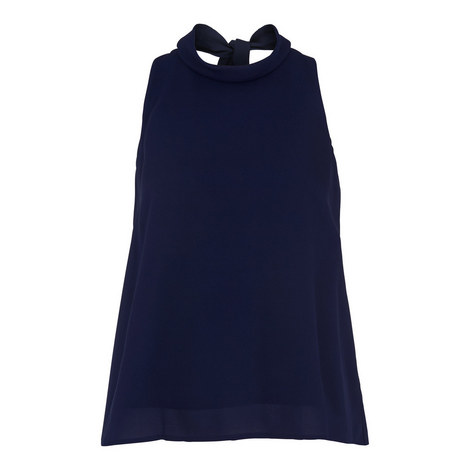 Roll Neck Tie Back Top, ${color}