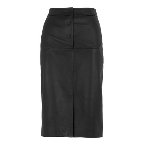 Button Leather Pencil Skirt, ${color}