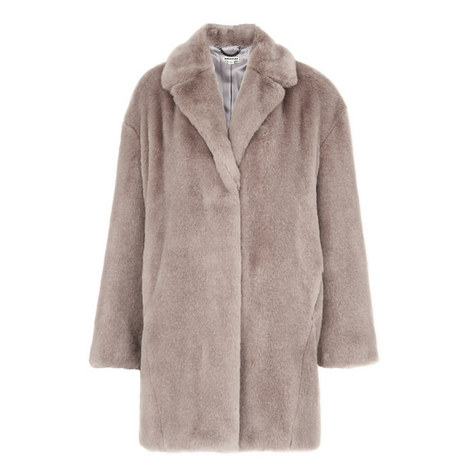Faux Fur Cocoon Coat, ${color}