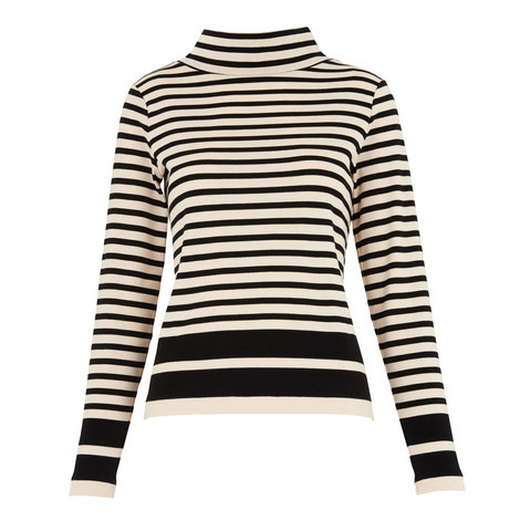 Funnel Neck Stripe Top, ${color}
