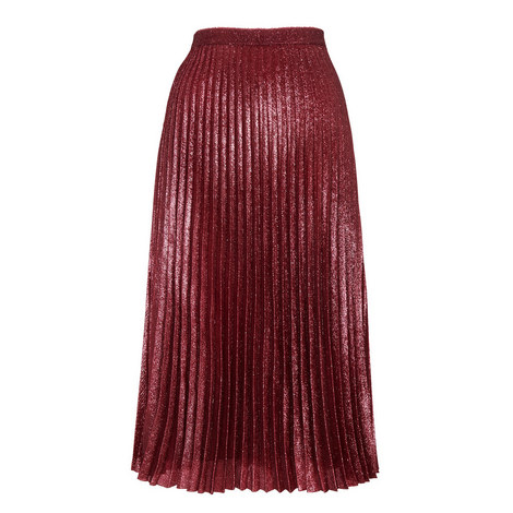 Kitty Metallic Pleated Skirt, ${color}