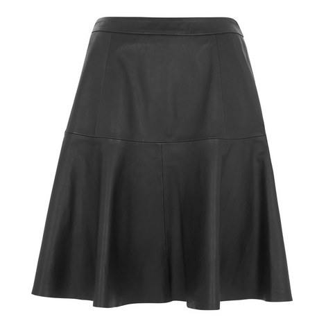 Flared Leather Skirt, ${color}