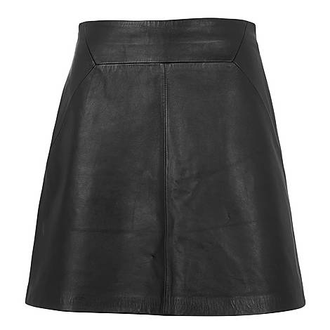 A-Line Leather Skirt, ${color}