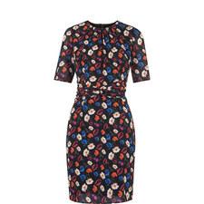 Gathered Pansy Print Dress