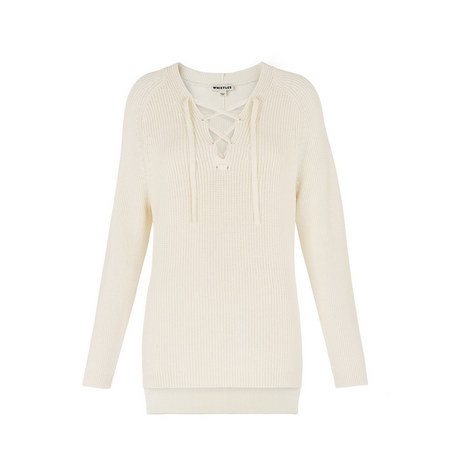 Lace-Up Rib Knit Jumper, ${color}