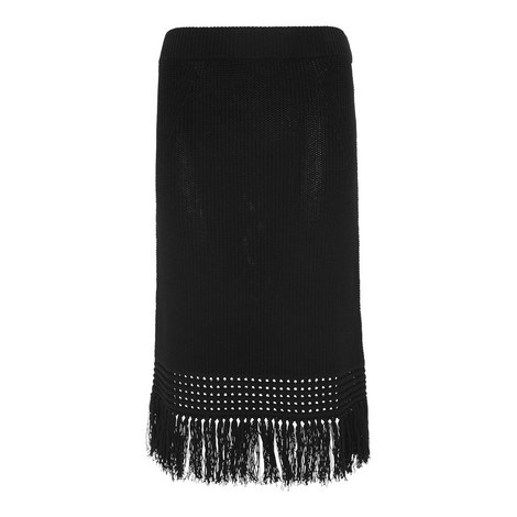 Fringed Knit Skirt, ${color}