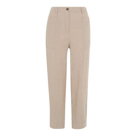Patch Pockets Linen Trousers, ${color}