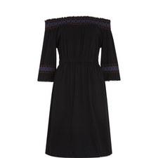 Embroidered Smocked Bardot Dress
