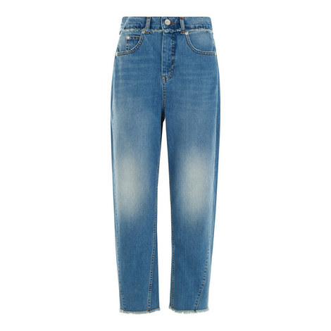 High-Waisted Raw Hem Jeans, ${color}