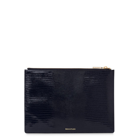 Lizard Embossed Clutch Medium, ${color}