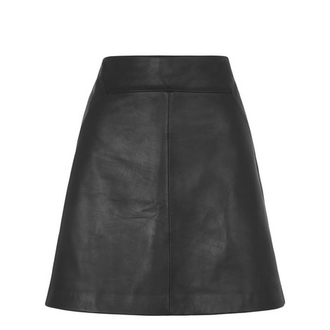 A-Line Leather Mini Skirt, ${color}
