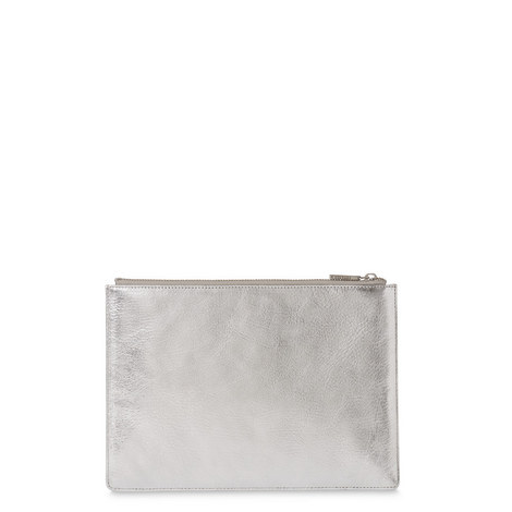 Grained Leather Metallic Clutch Large, ${color}
