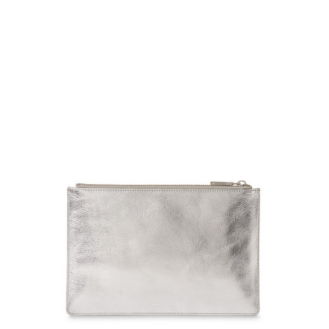 Grained Leather Metallic Clutch Small, ${color}