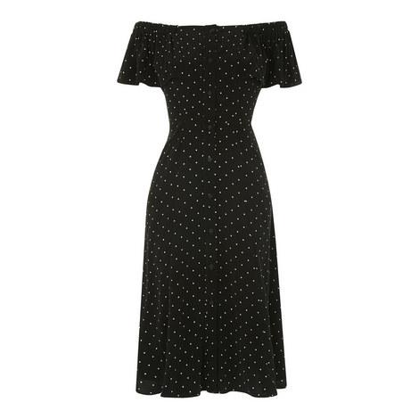 Pin Dot Bardot Dress, ${color}