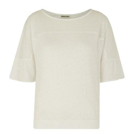 Frill Cuff Linen Top, ${color}