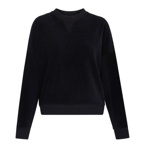Cropped Velour Sweatshirt, ${color}