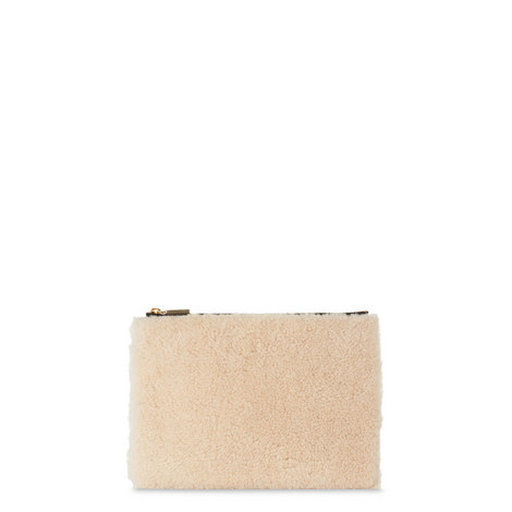Shearling Pouch Clutch Medium, ${color}
