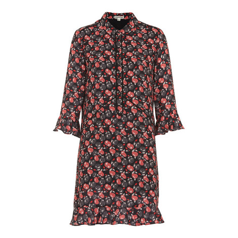 Apple Print Shirt Dress, ${color}
