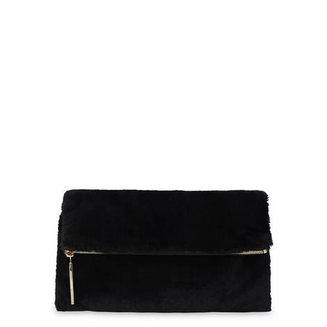 Shearling Foldover Clutch, ${color}