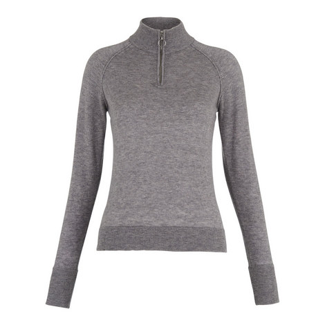 Zip Front Funnel Neck Knit, ${color}