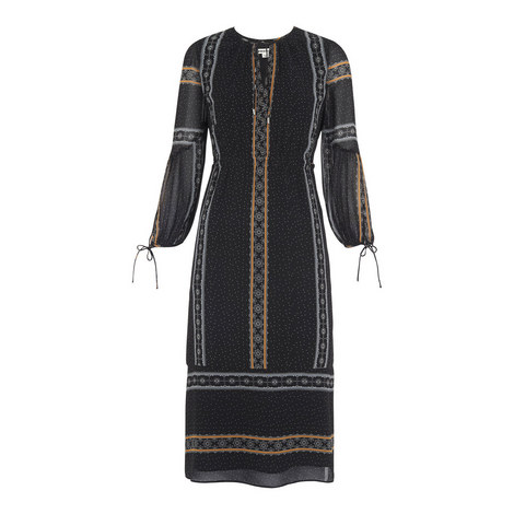 Scarf Print Midi Dress, ${color}