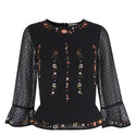 Embroidered Bell Sleeve Top, ${color}