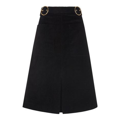 Double Buckle Velvet Skirt, ${color}