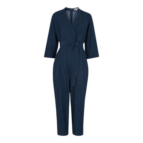 Denim Sash Tie Jumpsuit, ${color}