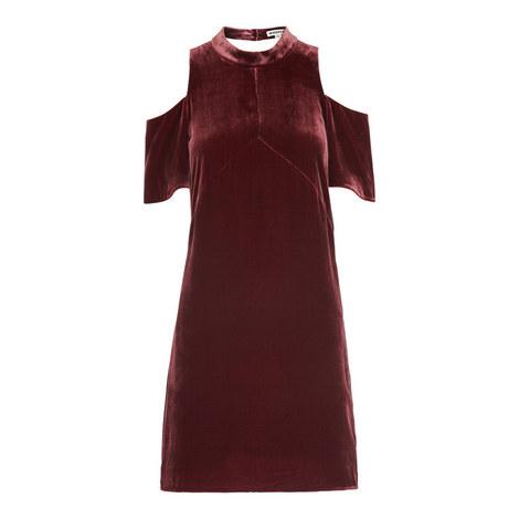 Evelyn Cold-Shoulder Velvet Dress, ${color}