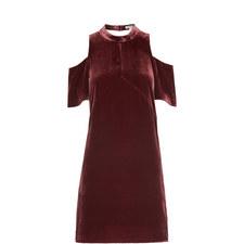 Evelyn Cold-Shoulder Velvet Dress