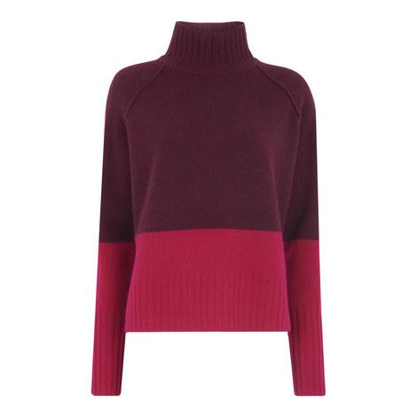 Colour Block Funnel Neck Knit, ${color}